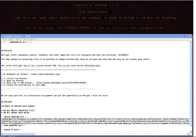 勒索病毒GandCrab5.0.4变种来袭,已造成医疗机构业务瘫痪