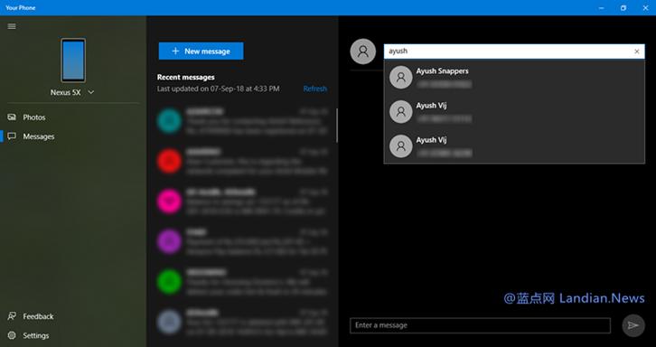 Windows 10你的手机应用现已支持在电脑收发短信