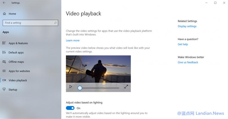 微软正在为Windows 10测试户外观看视频时自动调节亮度