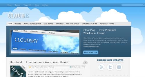 WordPress主题蓝色清新Cloude Theme-WP迷死