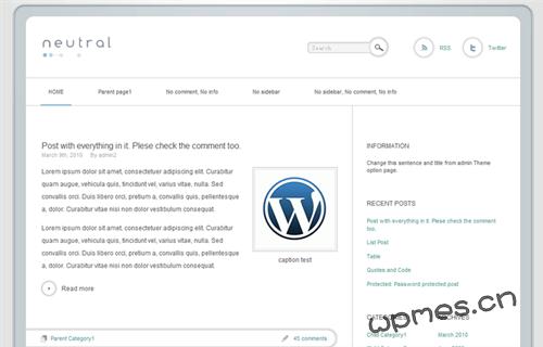 WordPress 清爽主题 neutral 1.0-WP迷死
